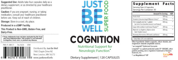 Just Be Well Super Food - Cognition Supplement Facts