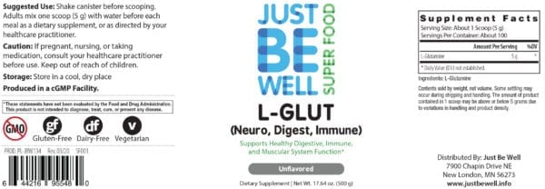 Just Be Well Super Food - L-Glut Supplement Facts