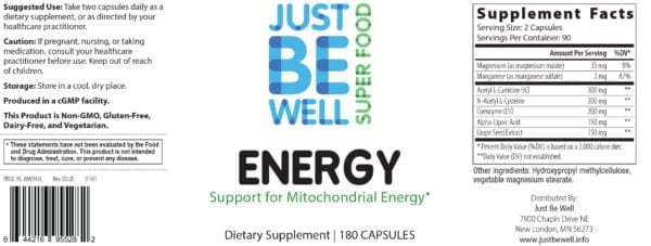 Just Be Well Super Food - Energy 180 Caps Supplement Facts