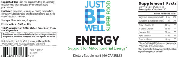Just Be Well Super Food - Energy 60 Caps Supplement Facts