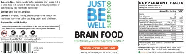 Just Be Well Super Food - Brain Food Supplement Facts