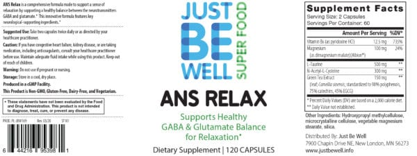 Just Be Well Super Food - ANS Relax Supplement Facts