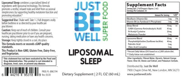 Just Be Well Super Food - Liposomal Sleep Supplement Facts