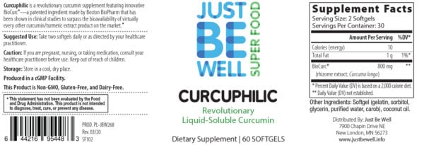 Just Be Well Super Food - Curcuphilic Supplement Facts