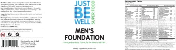 Just Be Well Super Food - Men's Foundation Supplement Facts