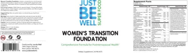 Just Be Well Super Food - Women's Transition Foundation Supplement Facts