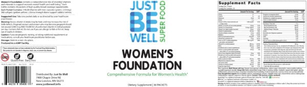 Just Be Well Super Food - Women's Foundation Supplement Facts