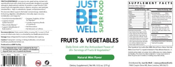 Just Be Well Super Food - Fruits & Vegetables Mint Supplement Facts