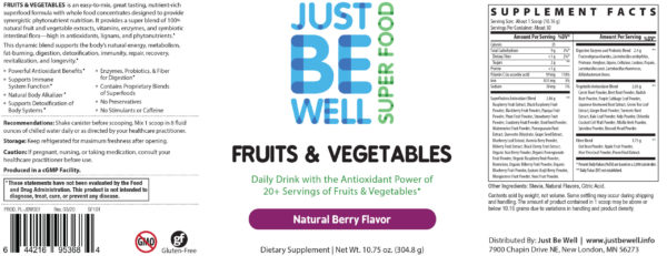 Just Be Well Super Food - Fruits & Vegetables Berry Supplement Facts