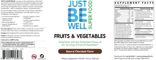 Just Be Well Super Food - Fruits & Vegetables Chocolate Supplement Facts