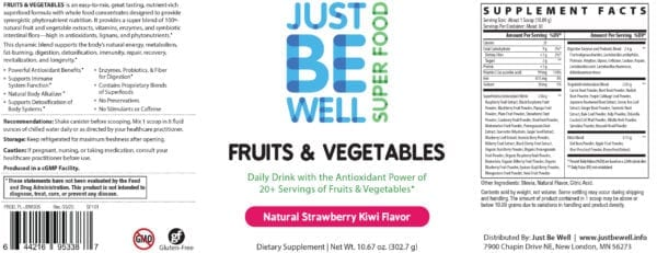 Just Be Well Super Food - Fruits & Vegetables Strawberry Kiwi Supplement Facts