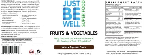 Just Be Well Super Food - Fruits & Vegetables Espresso Supplement Facts