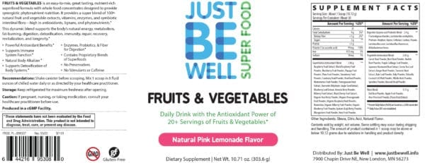 Just Be Well Super Food - Fruits & Vegetables Pink Lemonade Supplement Facts