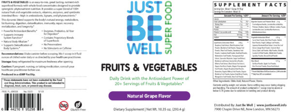 Just Be Well Super Food - Fruits & Vegetables Grape Supplement Facts