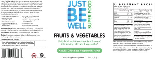 Just Be Well Super Food - Fruits & Vegetables Chocolate Peppermint Supplement Facts