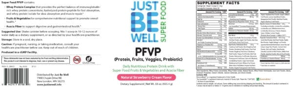 Just Be Well Super Food - PFVP Strawberry Supplement Facts