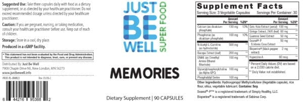 Just Be Well Super Food - Memories Supplement Facts