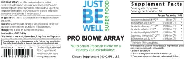Just Be Well Super Food - Pro Biome Array Supplement Facts