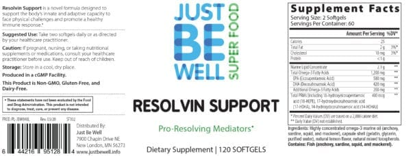 Just Be Well Super Food - Resolvin Support 120 Gels Supplement Facts