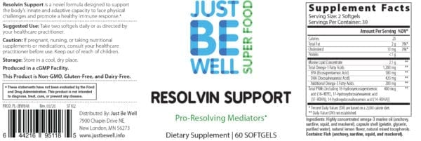 Just Be Well Super Food - Resolvin Support 60 Gels Supplement Facts