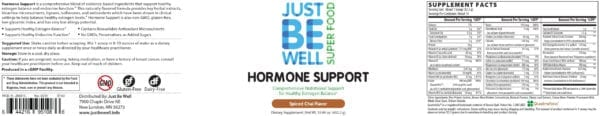 Just Be Well Super Food - Hormone Support Spiced Chai Supplement Facts