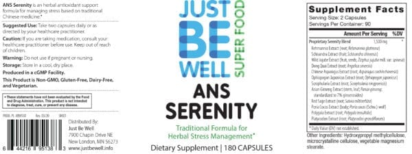 Just Be Well Super Food - ANS Serenity Supplement Facts